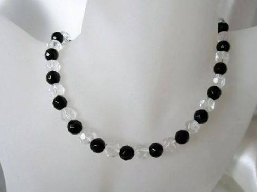 Faceted Black Onyx & Crystals Sterling Silver Necklace